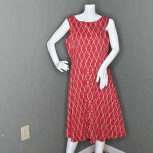 Talbots Red Fit And Flare Nautical Print Dress
